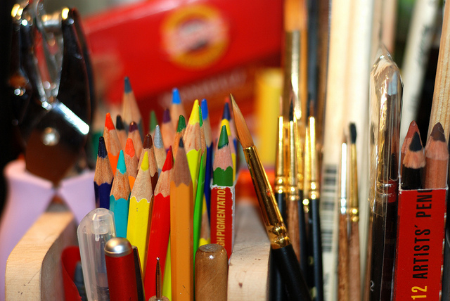 color pencils and brushes