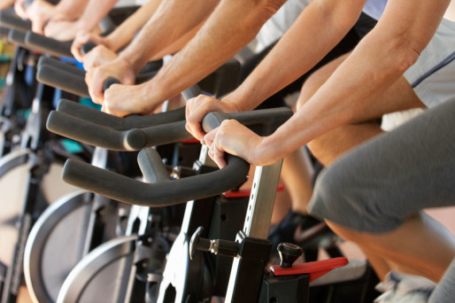 exercise bikes at the 24-hour fitness center