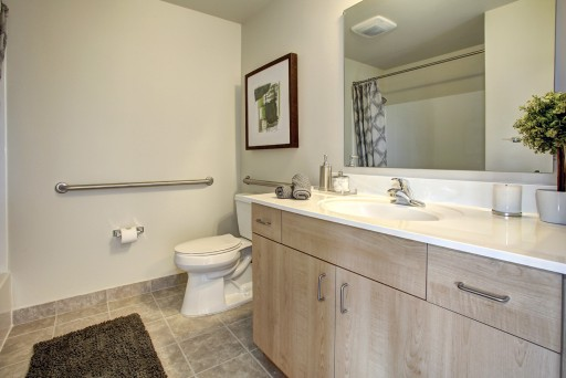 Hodge on 7th bathroom with new wood cabinets and white fixtures