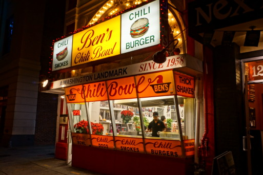 Nighttime photo of Ben's Chili Bowl exterior