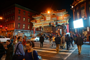 Nighttime photo of Washington DC Chinatown entrance