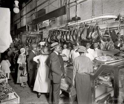 old black and white photo of D.D. Collins Meat Market