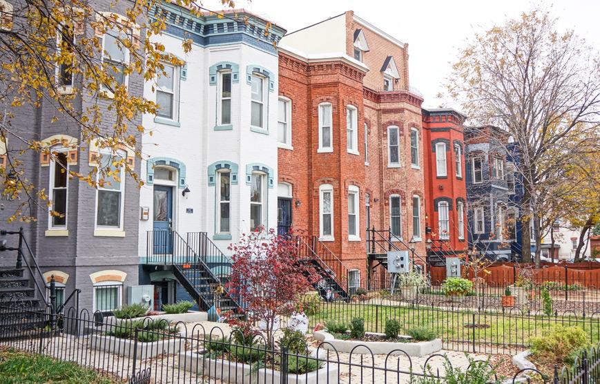 Row houses in Washington, DC Shaw neighborhood