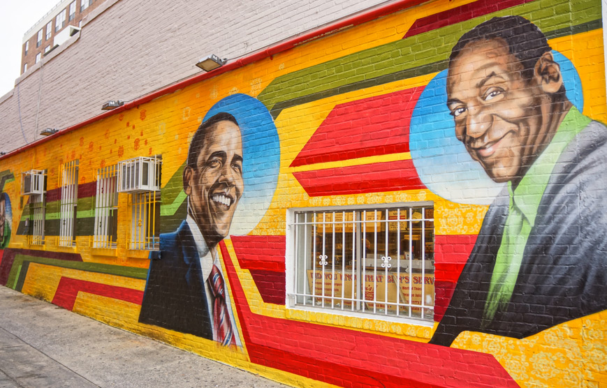 Wall mural of Bill Cosby and Barack Obama at Ben's Chili Bowl